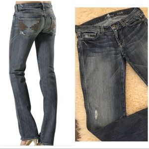 7FAM Colette Distressed Straight Leg Stretch Jeans
